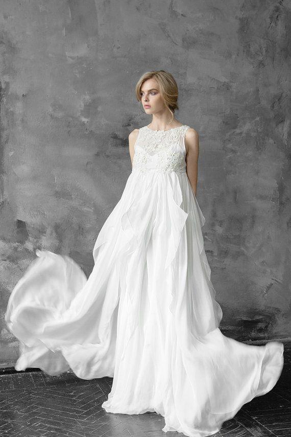 Free fitted silk wedding dress, pregnancy dress, maternity wedding ...