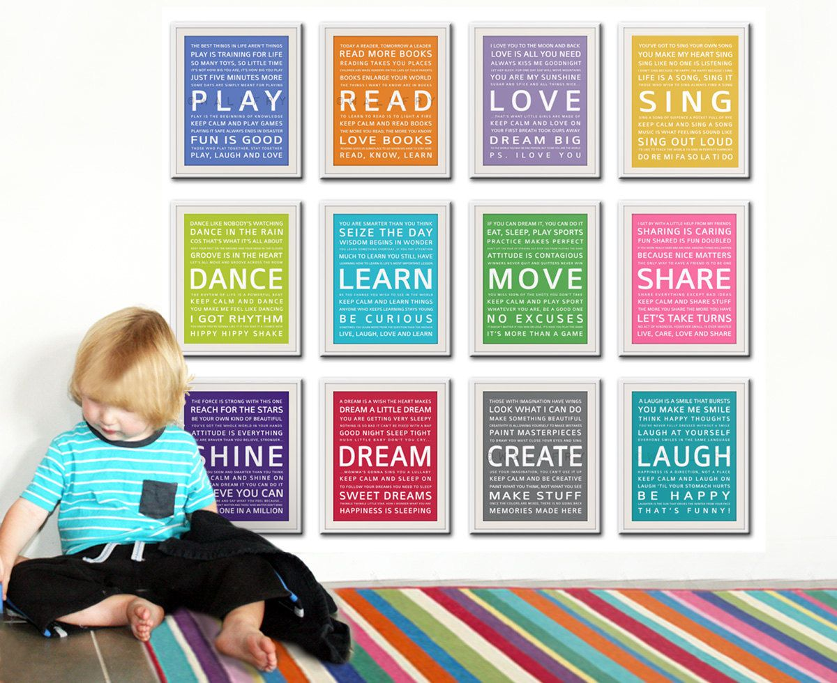 Word art wall art for kids. Playroom prints, playroom wall art for children Inspiration typography. ALL 12 - 8X10 kids art by Wallfry