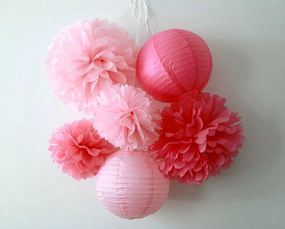 Sunbeauty Lot De 6 S Rie Rose Fuchsia Pompon Papier De Soie Lanterne