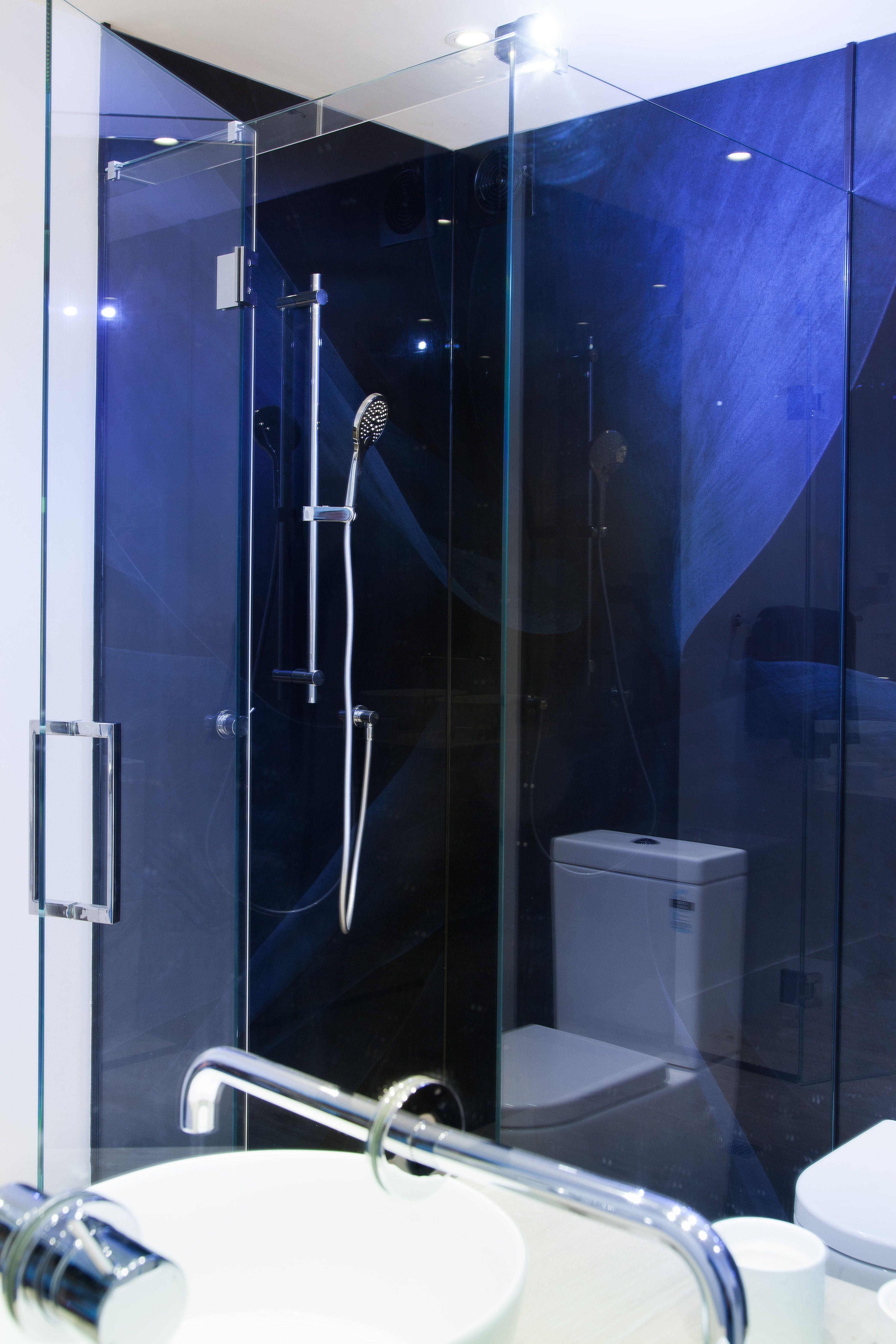Digital print glass lining | corner shower | hinged door | chrome ...