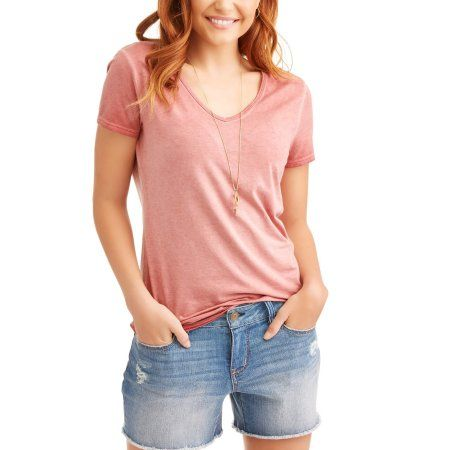 8463be03 Time and Tru Women's Essential Short Sleeve V-Neck T-Shirt $7.86 2-DAY  SHIPPING Sold & shipped by Walmart Color : Mauve Glow