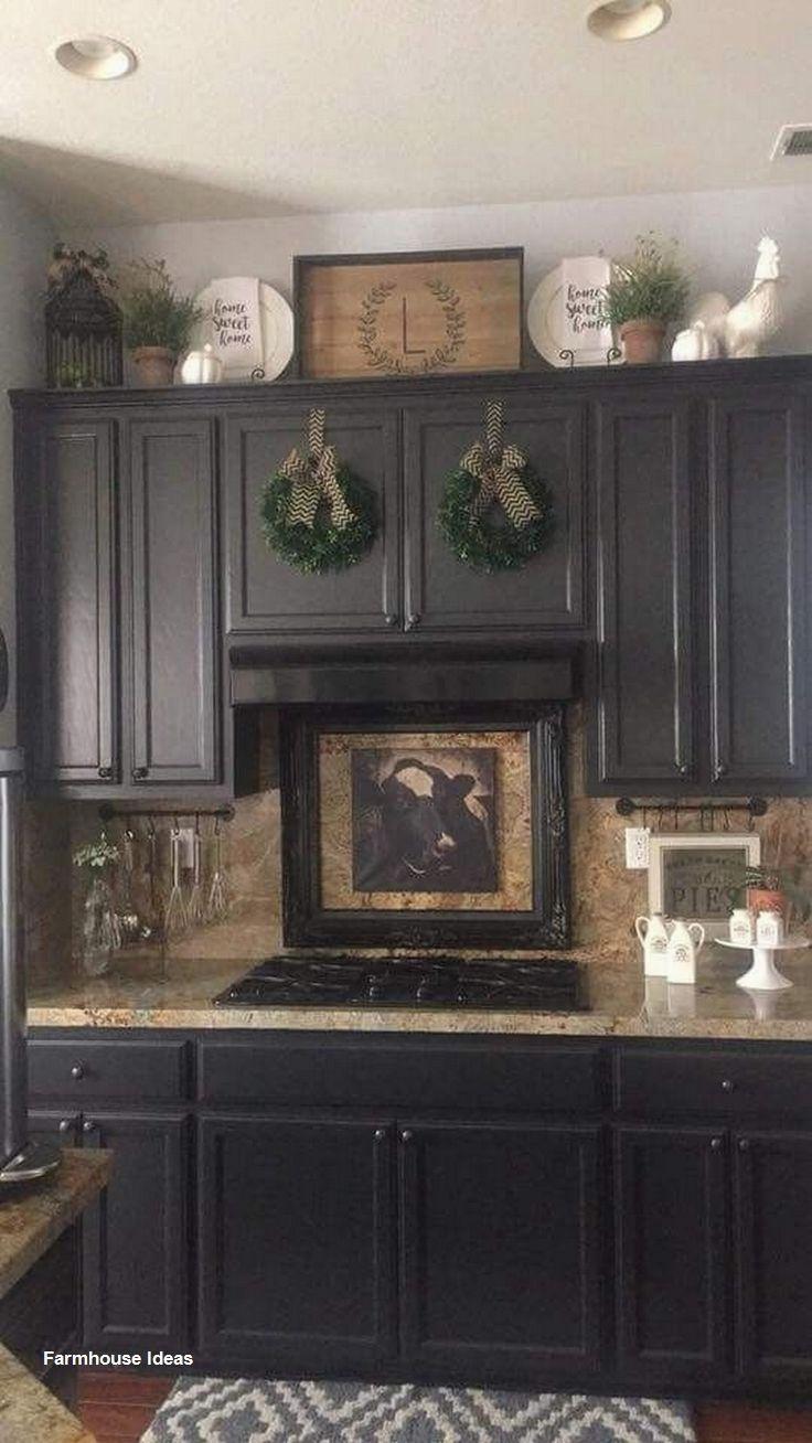 Farmhouse Decoration Ideas In 2020 Decorating Above Kitchen Cabinets Farmhouse Kitchen Decor Kitchen Cabinets Decor