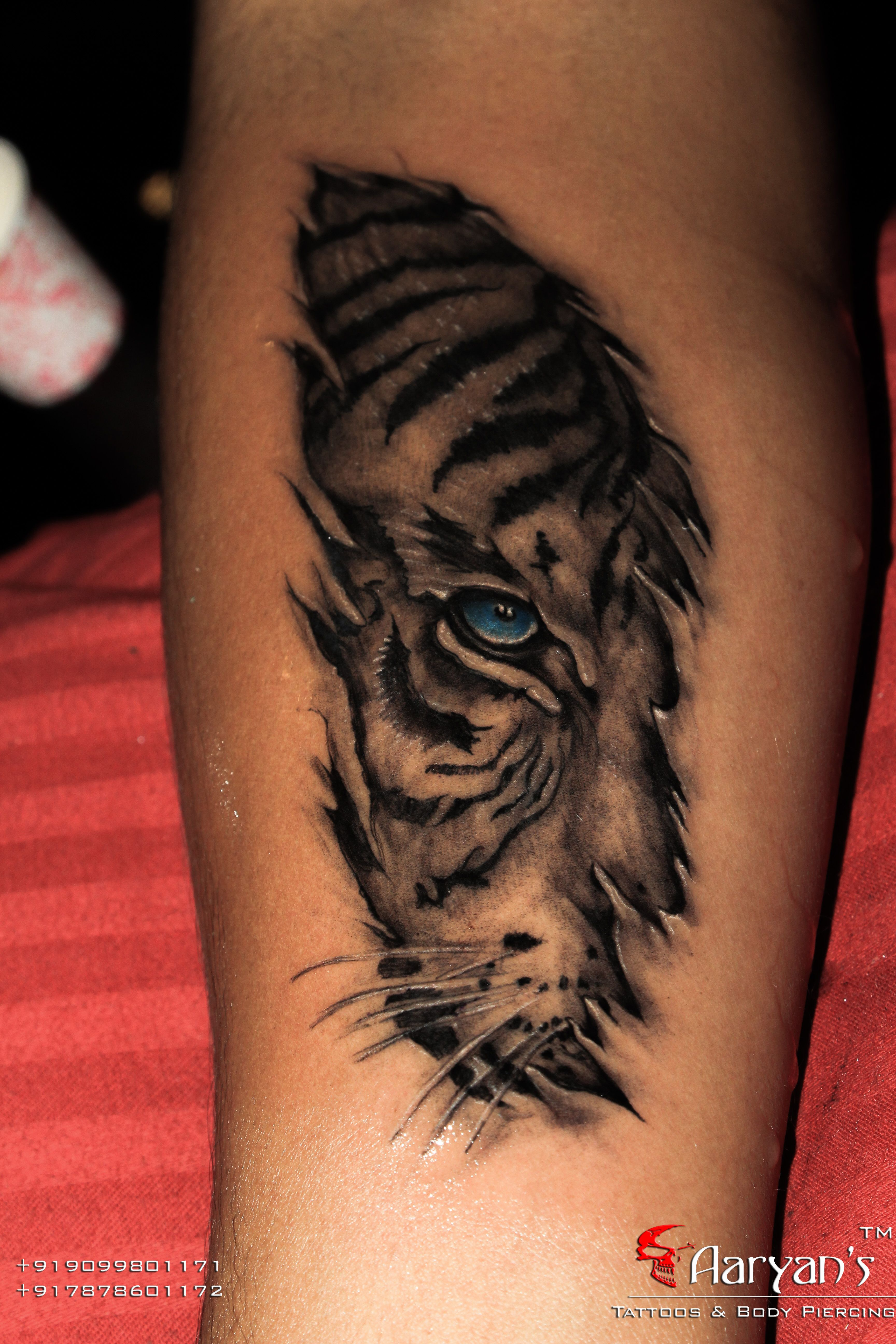 38a3a7ee9 Here is the skin Tear # Tiger Tattoo..!! Original Concept belongs to Great  Realism Master Tattooist Mr. # Eric from # IronBuzz # Mumbai , ...