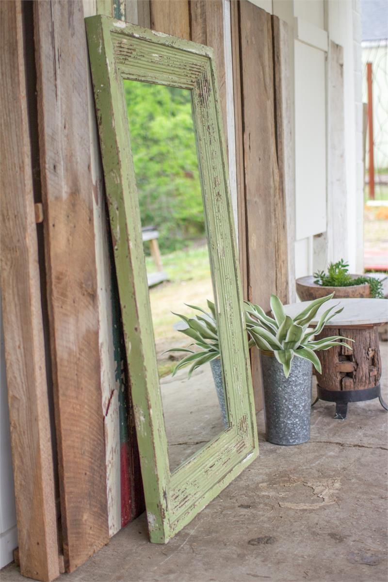 MATILDA'S DISTRESSED GREEN WOOD FRAMED MIRROR Wood