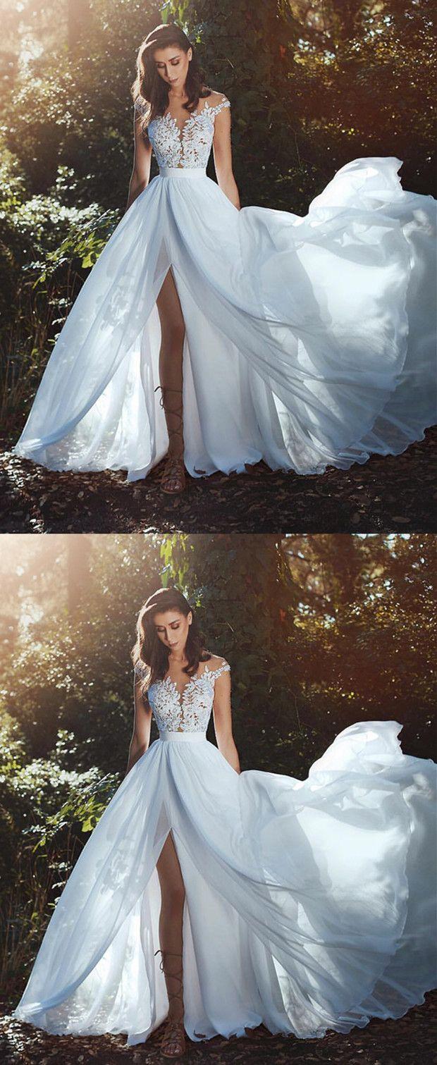 Elegante Spitzenapplikationen Chiffon Längere Trennung Hochzeitszeremonie Kleidung #appliq …