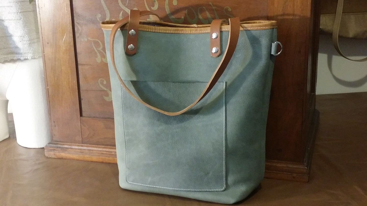 e78203c1a7 Full Grain Graphite Gray Leather Tote Bag Purse Satchel Handmade in USA by  ForgedLeatherBags on Etsy