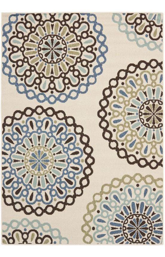 Safavieh Veranda Ver092 Cream Blue Rug Area Rugs Rugs Area Rugs