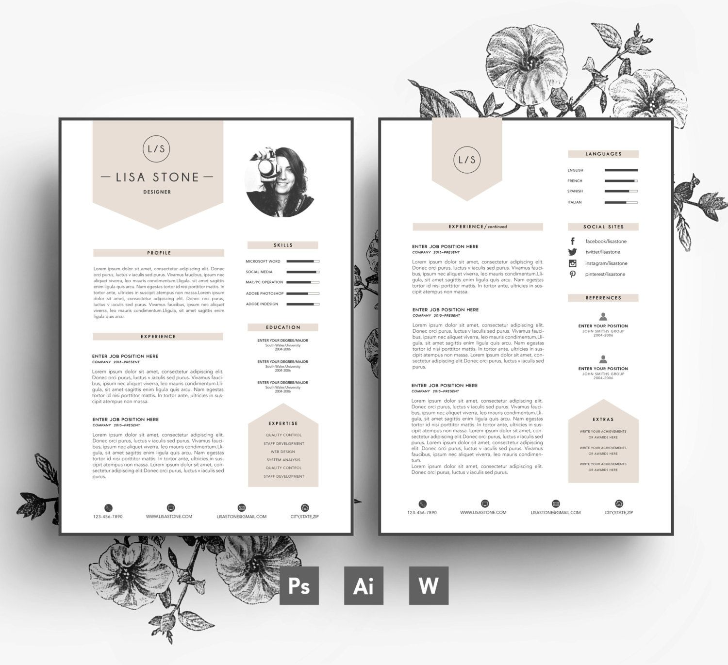 Modern template/ Business car/CV template/Cover letter/editable PSD ...