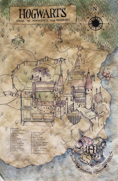 Hogwarts map from the wonderful wizard world of Harry Potter ...