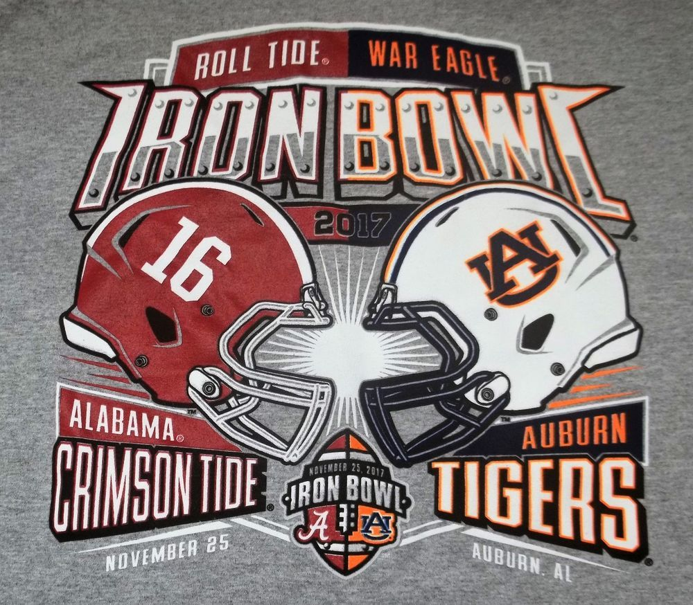 iron bowl university of alabama auburn tigers tshirt adult xl