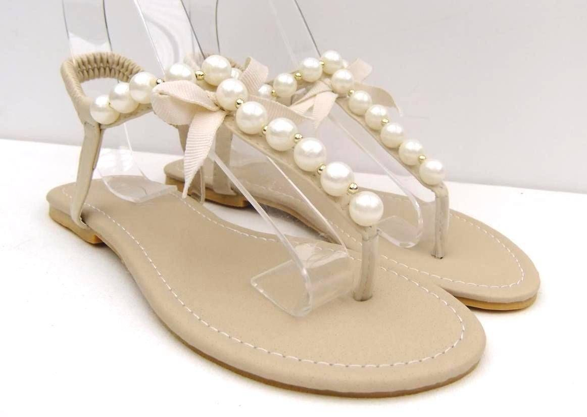 18f7d99918967 Womens SZ 5 6 7 8 9 10 11 Sandals Flats Pearl Beads Thongs Shoes Wedding  Brides