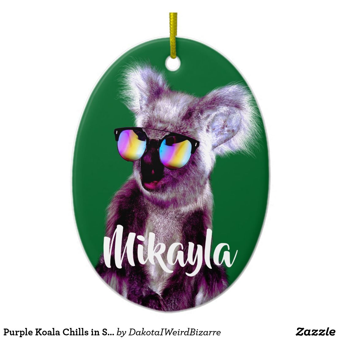 Purple Koala Chills in Shades Ornaments, Ceramic