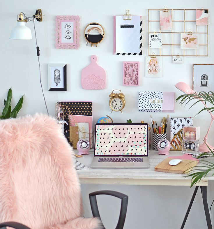 Pink Black And White Office With Rose Gold Details Pink Bedroom Decor Black And White Office Pink Office Decor