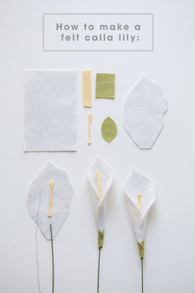 Make A Felt Calla Lily With This Easy Step By Step Tutorial Felt Flower Tutorial Felt Flowers Diy Felt Flowers