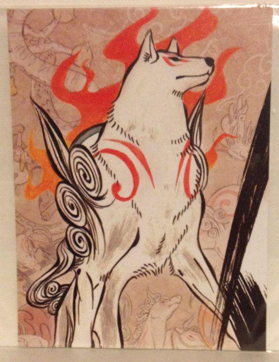 Okami Amaterasu video game art print by AhnjaylasCreations on Etsy, $10.00
