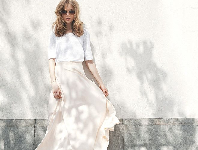 Anine Bing - Lookbook -http://www.aninebing.com/collections/skirt/products/silk-maxi-skirt-in-champagne