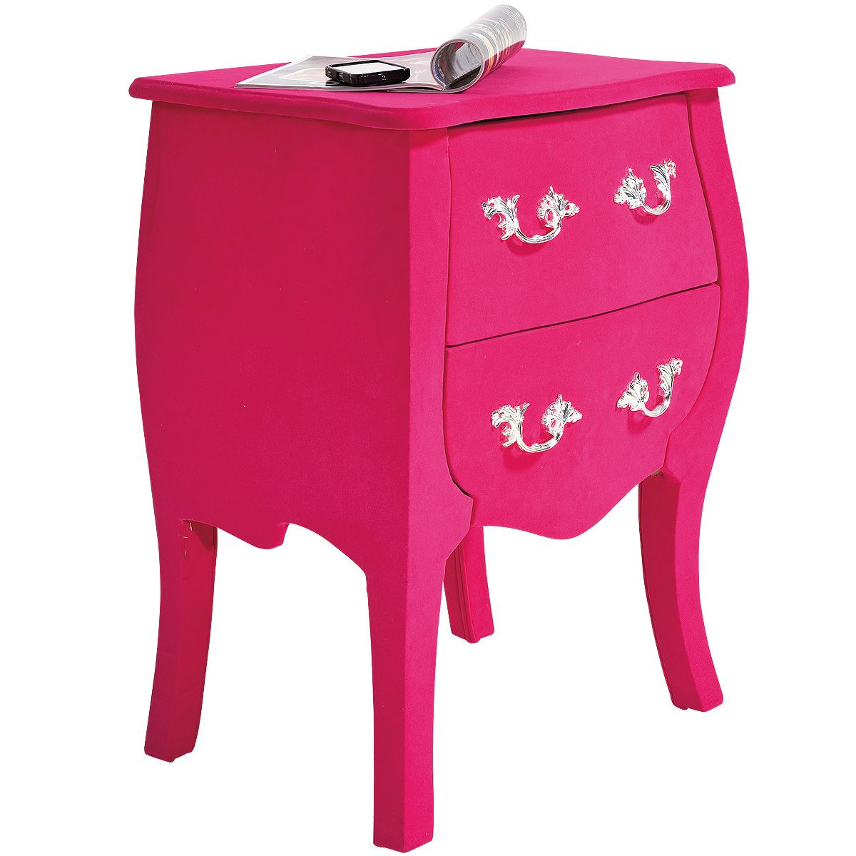 Frolic Flocked Pink Bedside Table Tables French Bedroom Company