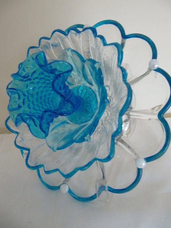 Exquisite Retro Lift Lobby: Glass Garden Flower, Yard Art, Fenton Glass,glass Plate
