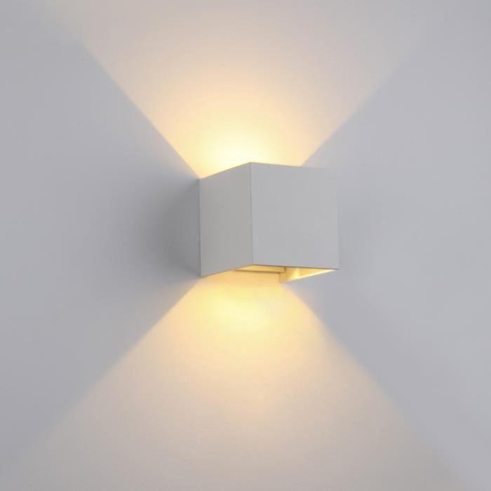 Applique murale du0027extérieur Led Cube 6W IP60 Étanche Lumière Blanc - cube lumineux solaire exterieur