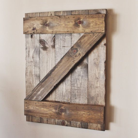 Listing for a rustic wooden shutter barn door wall hanging  Dimensions: 24x18 approx. starting Details: A rustic, distressed wooden shutter for