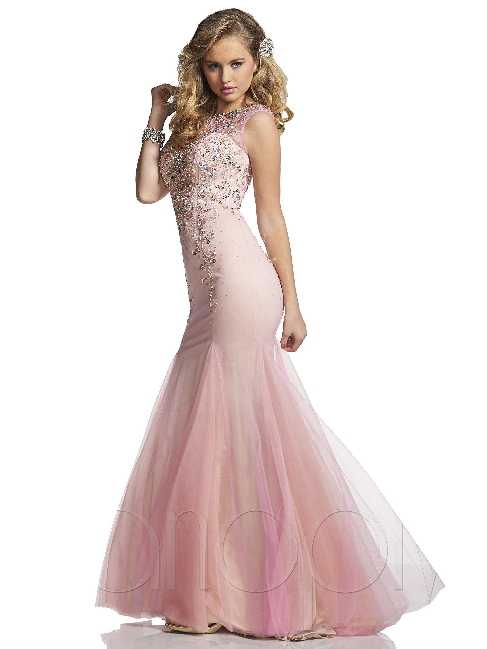 Panoply beaded sheer mermaid prom dress pinknude