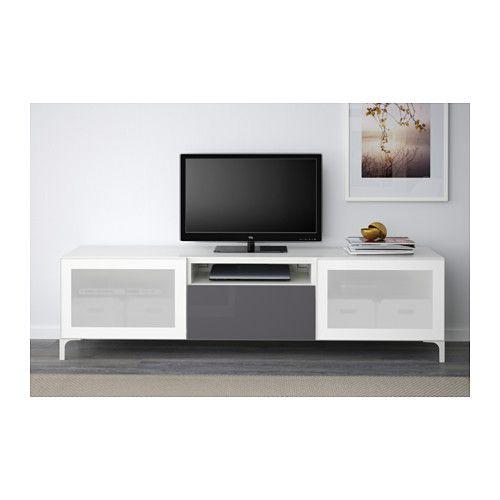best tv unit white selsviken high gloss gray frosted glass drawer runner push open. Black Bedroom Furniture Sets. Home Design Ideas