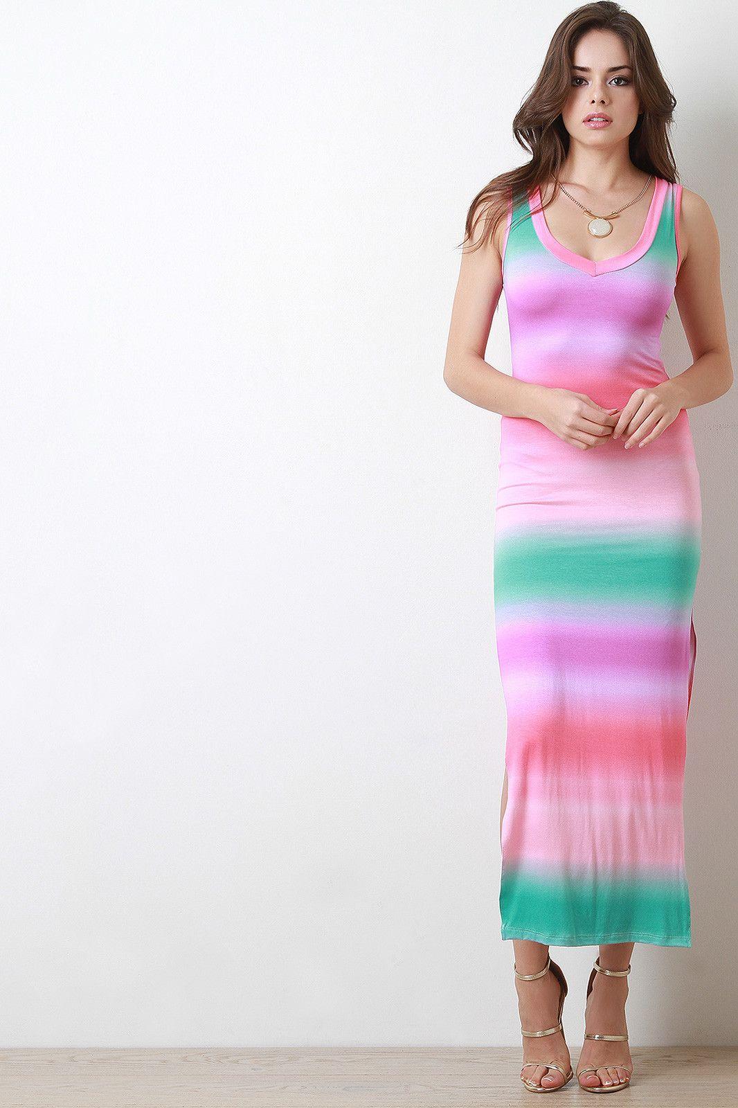 Tie Dye Double Slit Sleeveless Maxi Dress
