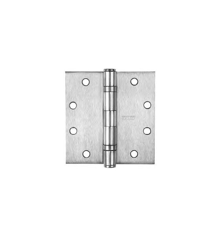 Stanley Fbb179 412 Fbb179 Series 4 1 2 X 4 1 2 Ball Bearing Square Corner Mort Satin Nickel Door Hinge Ball Bearing 4 1 2 X 4 1 2 Door Hinges Stainless Steel Doors Steel