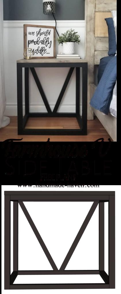 DIY Farmhouse V Side Table images
