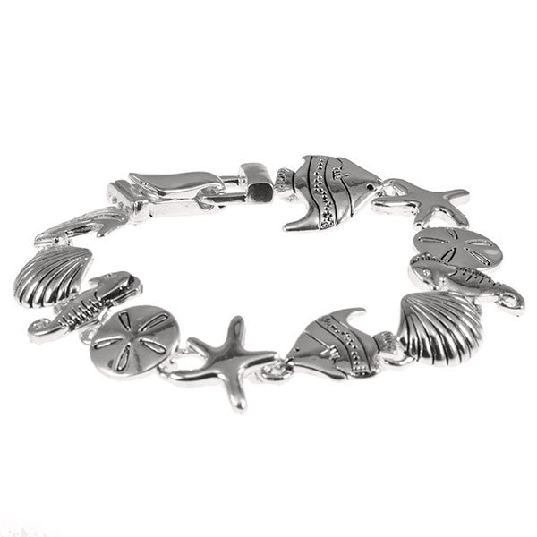 bracelet featuring swimming fish and sea shells