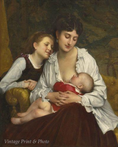Woman Girl Baby Breastfeeding 8x10 Print 0325 Motherly Love by Leon B Perrault