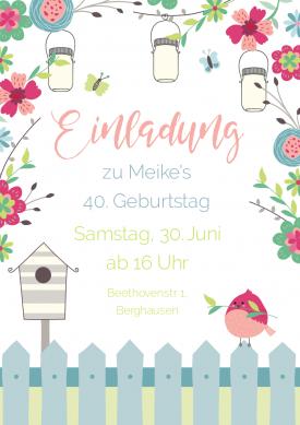 Perfekt Romantische Einladungskarte Zum Geburtstag Mit Blumen, Lampions Und Vogel