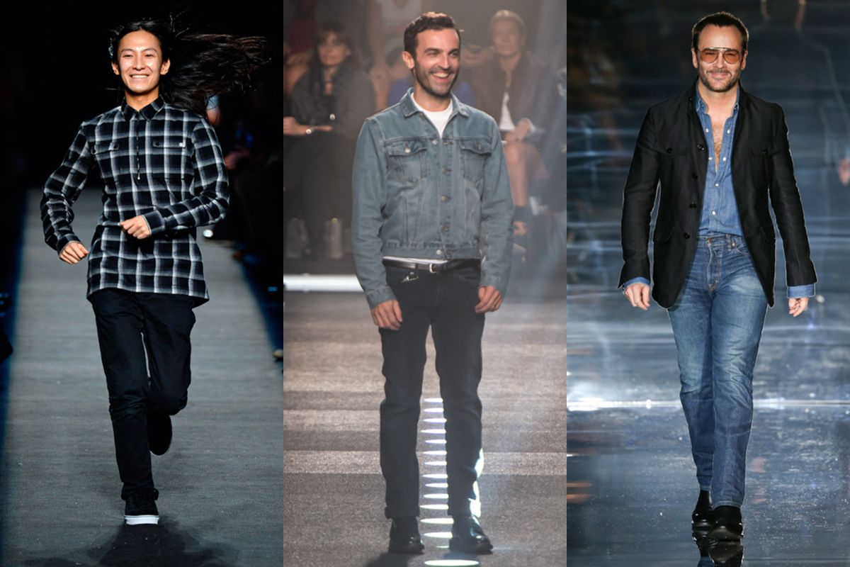 Designers Go To Denim Meet The Straight Leg Style Worn By Tom Ford Ralph Lauren And More Mens Designer Fashion Fashion Designer S Denim Design