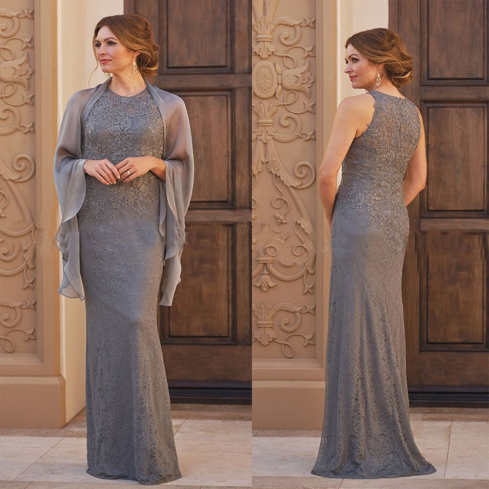 Evening wedding guest dresses  Lace Gray Mother of BrideGroom Dress Sleeve Cape Full Length