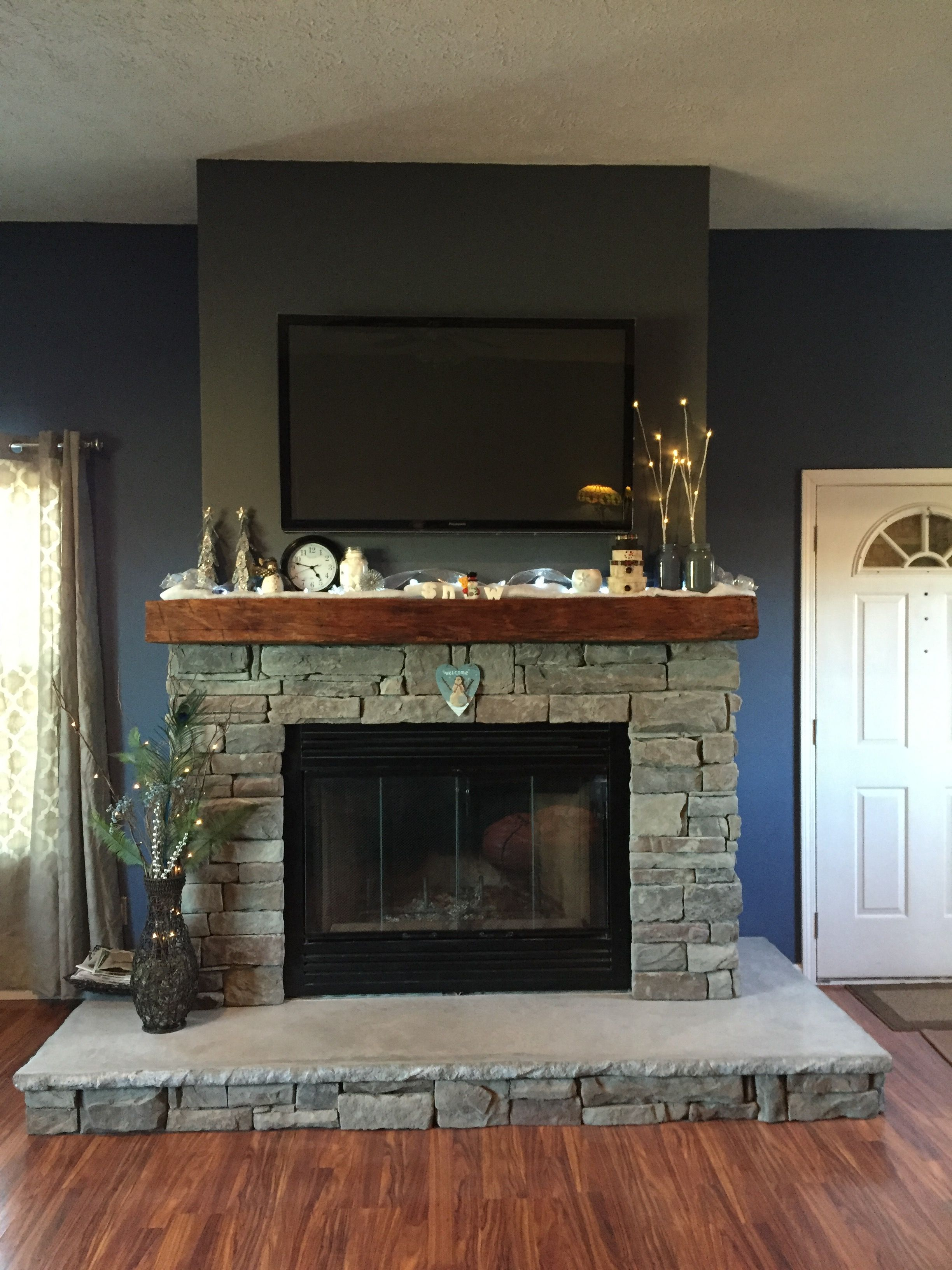January Mantle Decoration  Ledge Stone Fireplace, Concrete Hearth, Barn