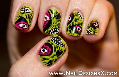 painted halloween nail art - Nail Designs & Nail Art