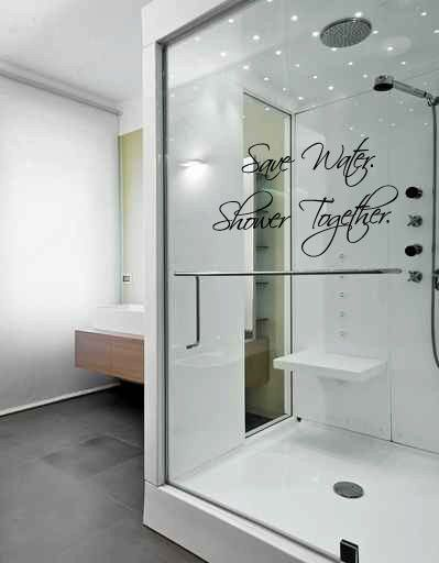 Save Water Shower Together Vinyl Wall Words Decal Sticker Graphic