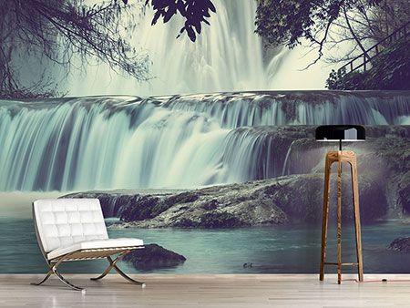 Raumansicht Wohnzimmer Fototapete Wasserfall Mexiko Wallpaper - schlafzimmer günstig online