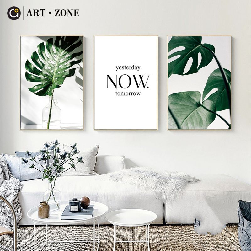Photo of ART ZONE Nordic Canvas Painting Modern Prints Plant Leaf Art Posters Prints Green Art Wall Pictures Living Room Unframed Poster