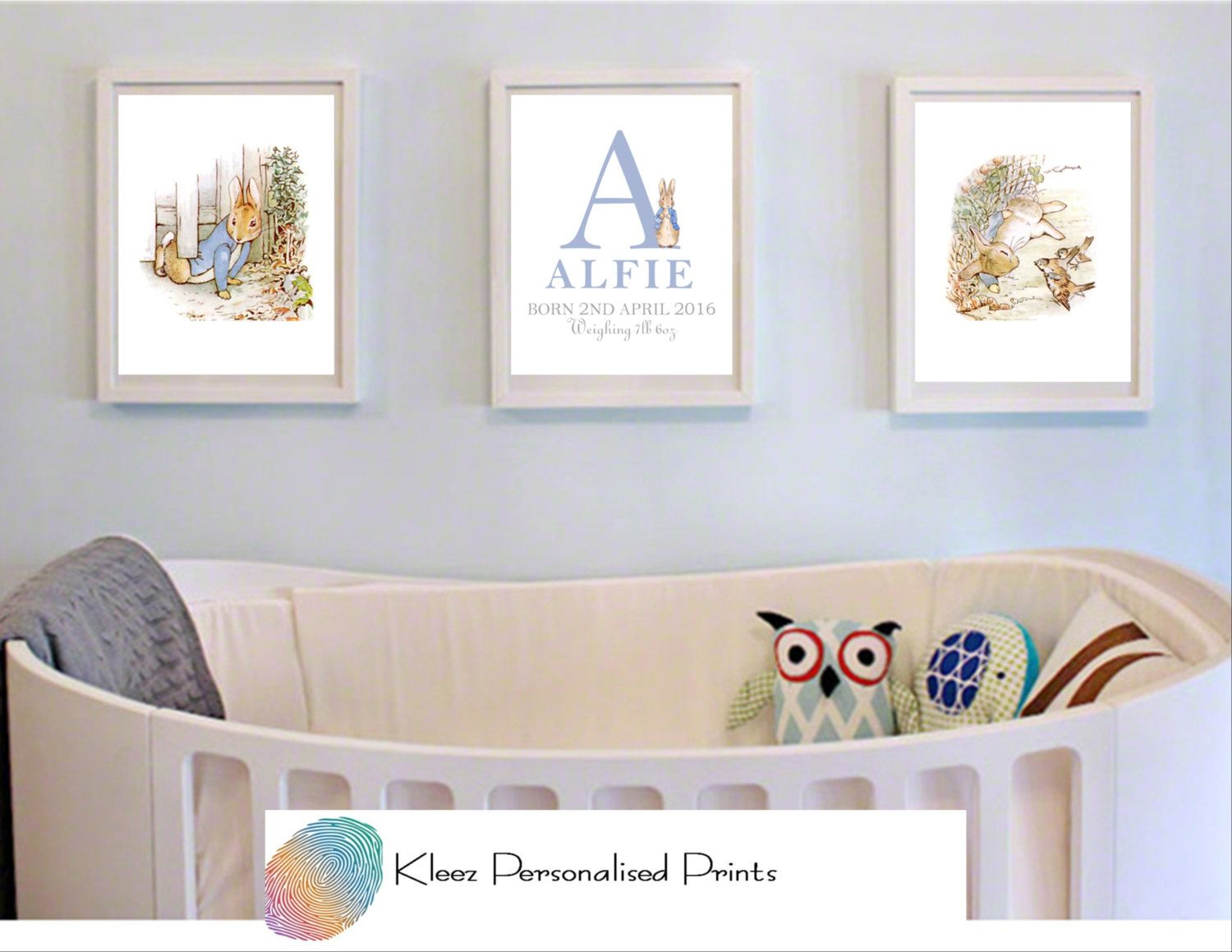 Personalised Peter Rabbit Nursery Art Beatrix Potter Decor Wall Set Of 3 Boy Or By Kleezprints On