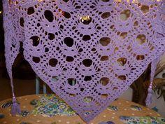"""Häkel-Tuch """"Katzentraum"""" fertig Material: DROPS Cotton Merino Größe: 1,80 x 0,75 m für 40 € herzugeben"""