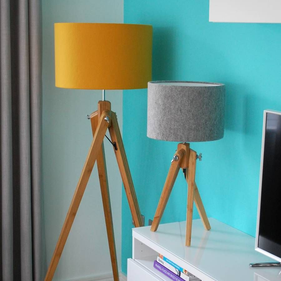 Orange and turquoise lamp shade - Bamboo Wood Tripod Floor Lamp Base