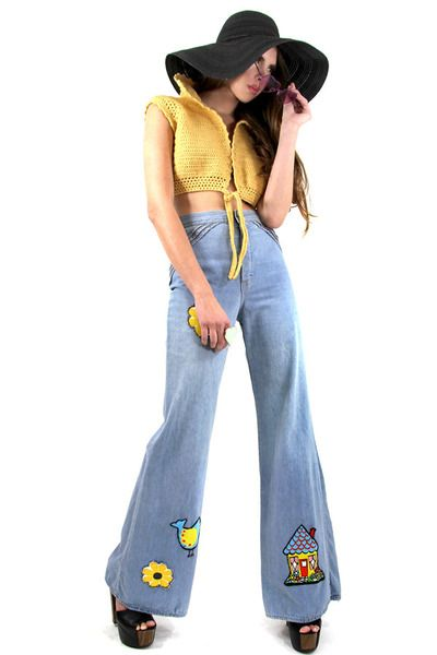 HIgh-Waisted Bell Bottom Hippie Embroidered Jean Pants | Jeans 60 ...