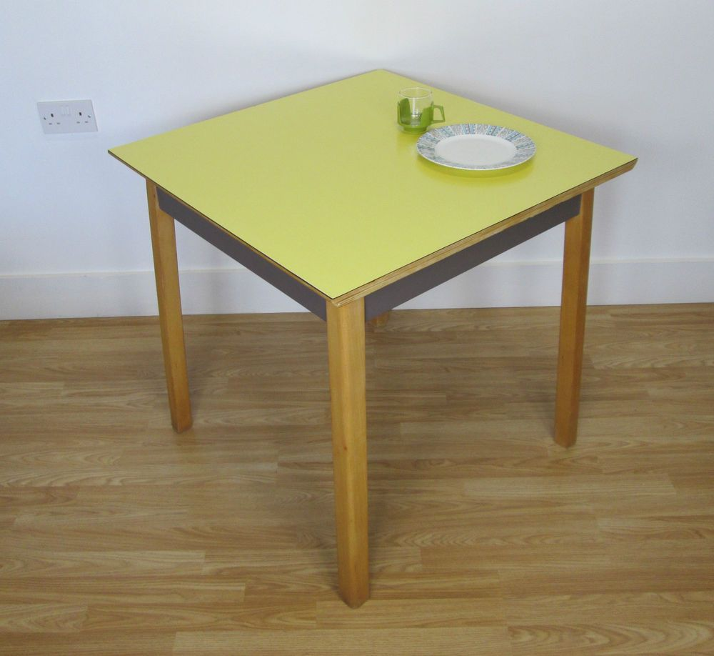Retro yellow formica top kitchen table 50s 60s kitsch vintage mid ...