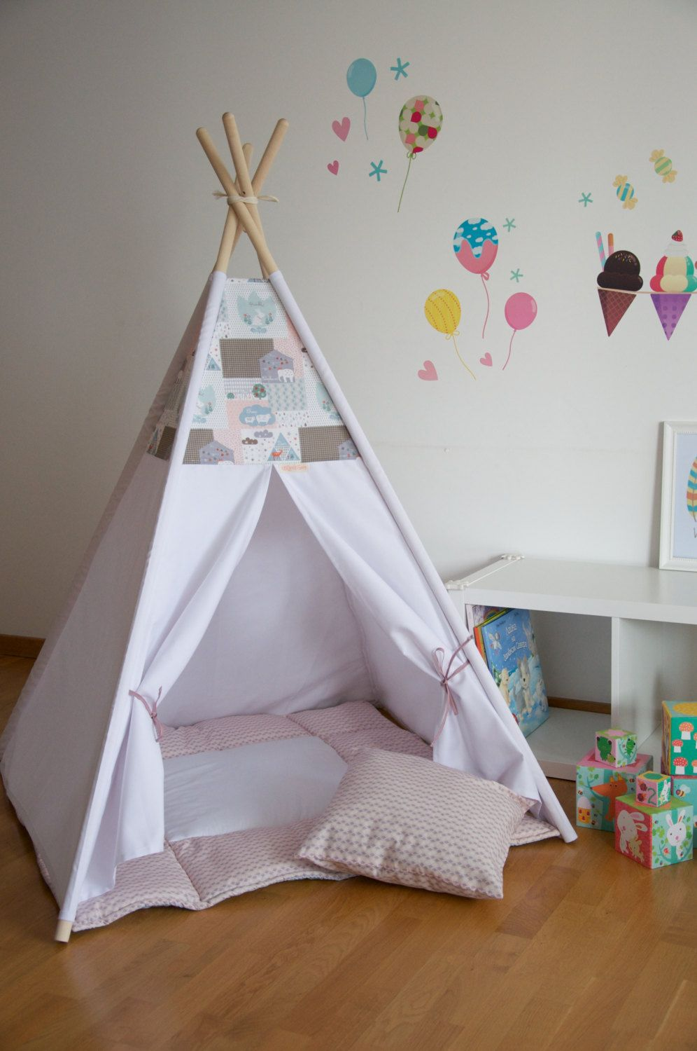 Girly rose kids teepee play tent with a padded floor mat by WigiWama on Etsy & Girly rose kids teepee play tent with a padded floor mat by ...