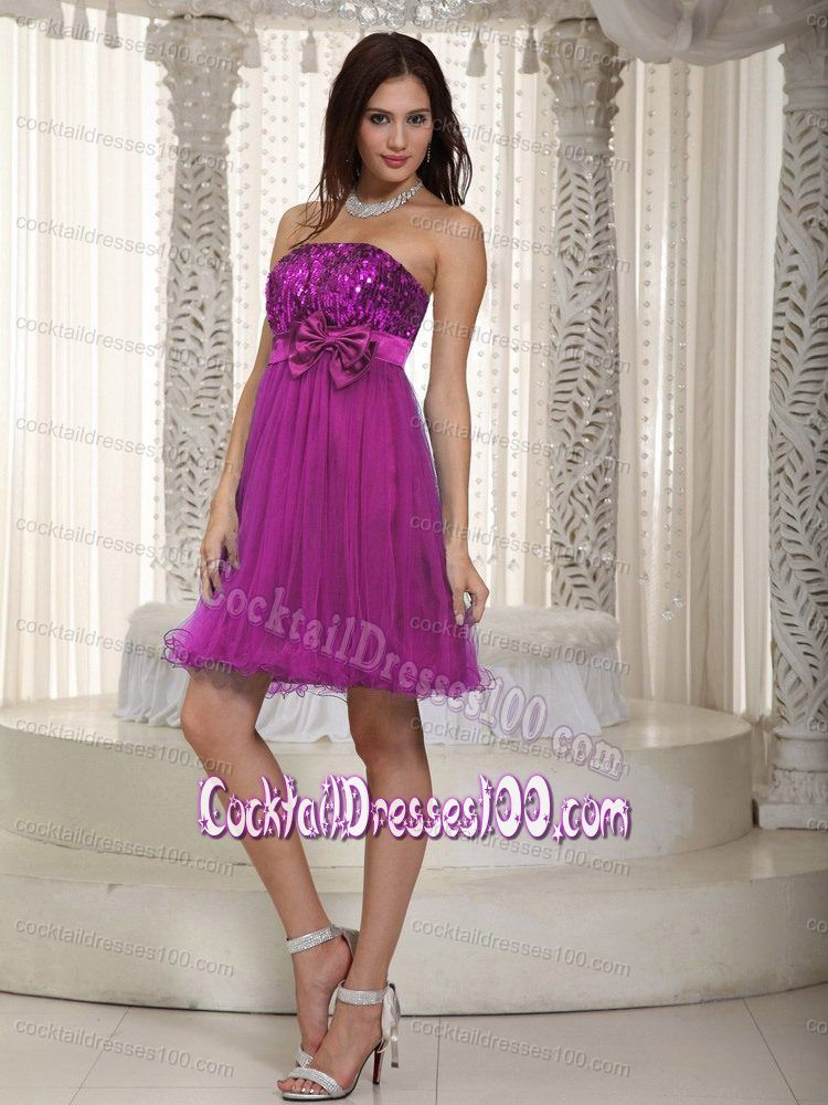 Fuchsia Tulle and Taffeta Strapless Cocktail Dress with a Bowknot ...