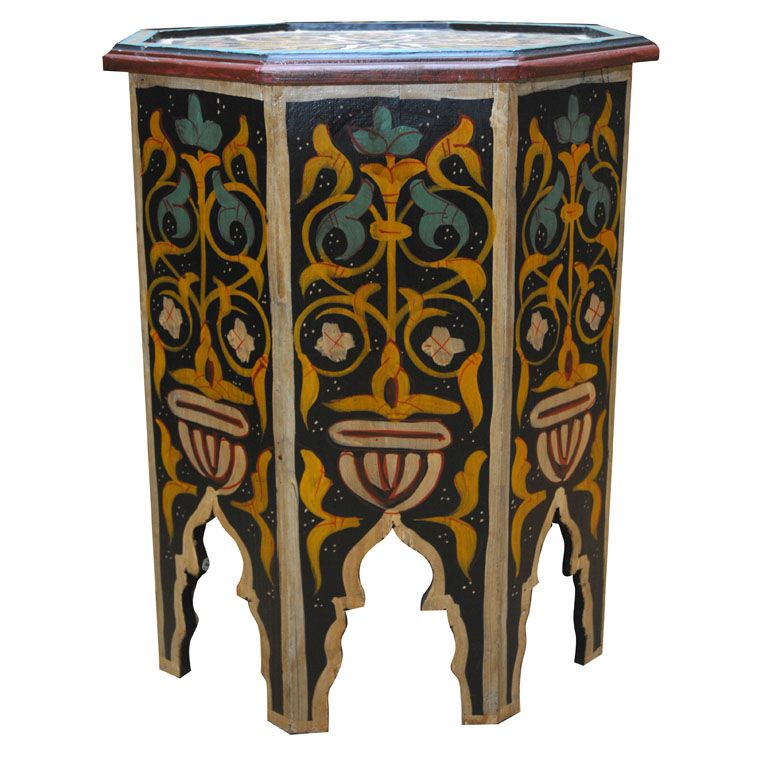 Marvelous Hand Painted Hexagon Moroccan Drinks Table