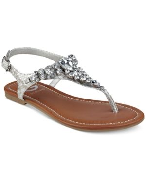 bf57430365e6a G by Guess Londean Embellished Flat Sandals - Silver 5.5M