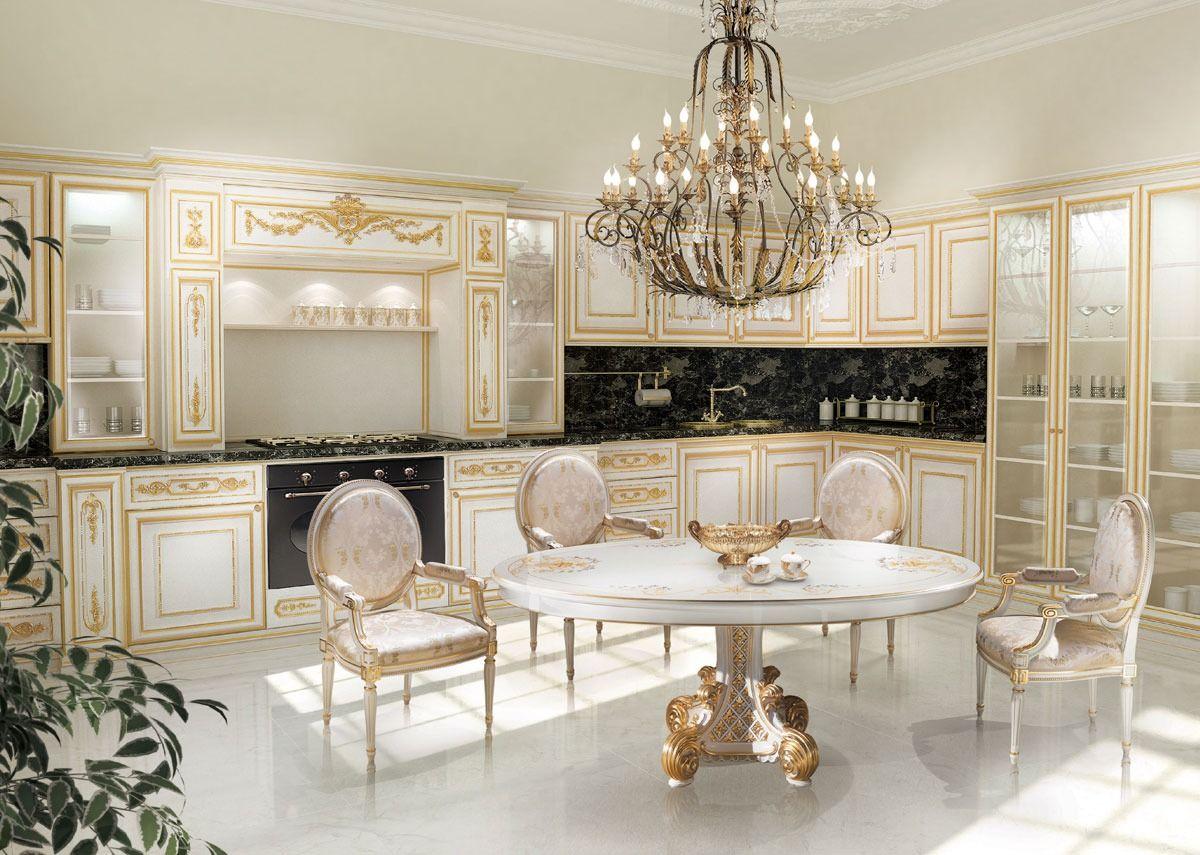 KT262, Küche in Weiß und Gold bemalt, Marmor schwarz Tops | KITCHEN ...