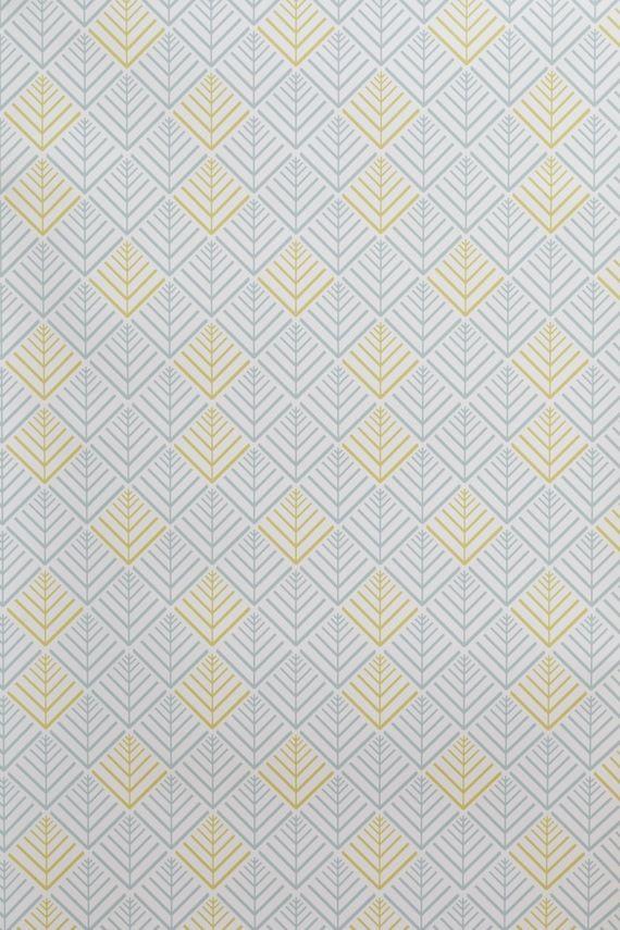 Papier Peint Vinyle Encollable Motif Geometrique Jaune Et Bleu